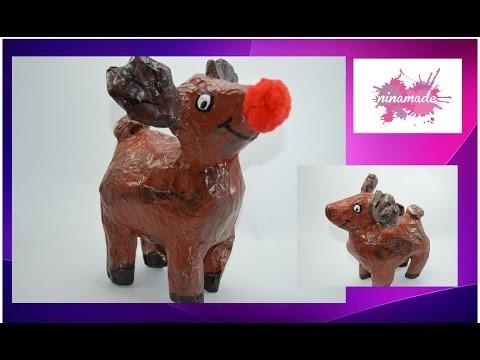 """DIY. Comment faire  """"Rudolph, le petit renne au nez rouge"""" en papier mâché"""