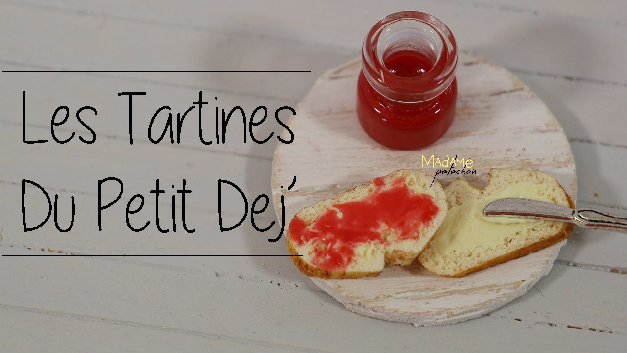 Les tartines du p'tit dej'. Toast of breakfast (Tuto Fimo.Polymer Clay Tutorial)