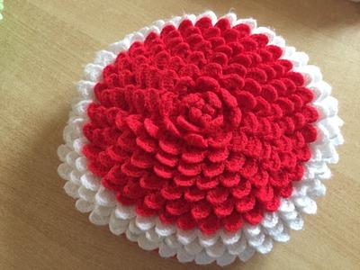 Tuto coussin, tapis petale au crochet 2.2