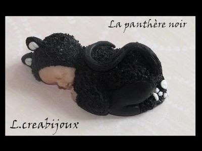 Bébé Panthère noir fimo