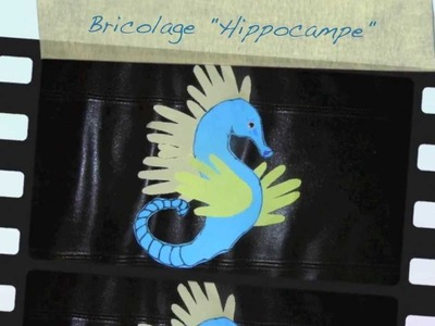 Bricolage enfants. Hippocampe aux mains d'enfants. DIY handprint  idea for kids