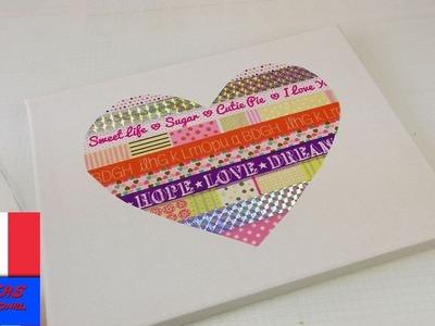 Tableau avec coeur en papier washi tape. Décoration de maison facile en forme de coeur