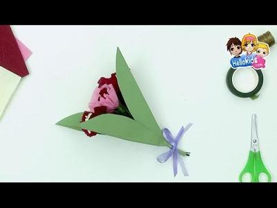 BRICOLAGE FETE DES MERES : Bouquet de fleurs crépon Fête des mères (Hellokids)