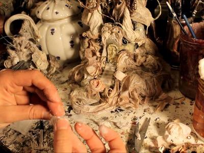 Chatte blanche ;le château;création des mains , White cat ; making paper hands