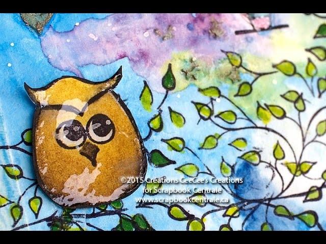 "Journal artistique ""owl & funky houses"" art journaling"