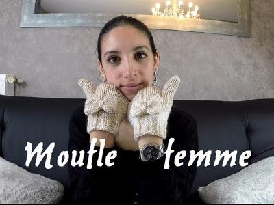 Tricoter des moufles femme , facile et rapide.  woman knitting mittens easy
