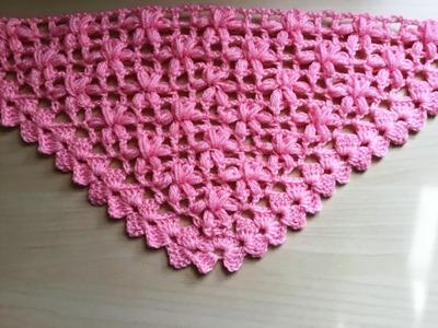 Chal crochet flores puff muy facil de tejer. Châle fleur puff crochet facile