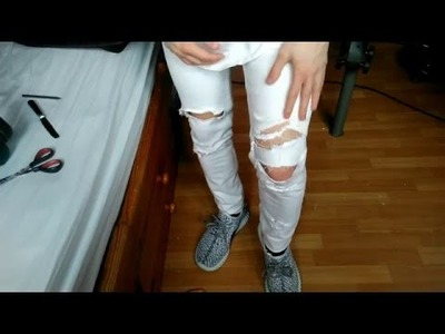 DIY Jean Skinny Fit White DESTROY