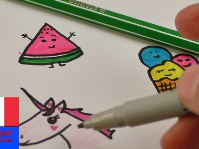 DIY, Idées, Filofax, Dessiner, images, mignonnes, Sweet, Edition, pastèque, Glace, Licorne, Cute