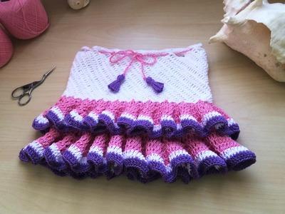 Falda tejida a crochet con volantes. Jupe volant crochet