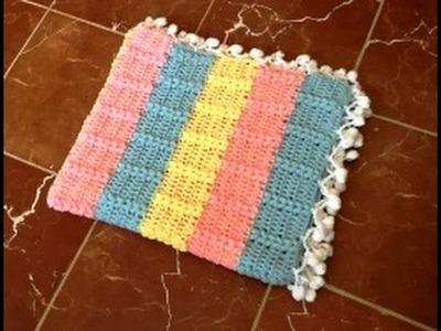 Mantita bebe tejida a crochet con punto trigo facil. Couverture bebe crochet point de blé