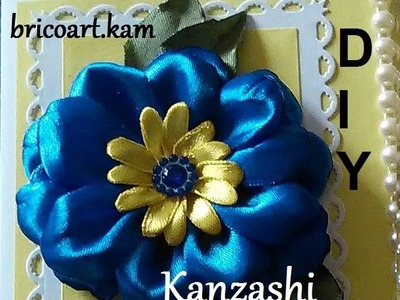 DIY.MK.Tutorial.Kanzashi flower blue