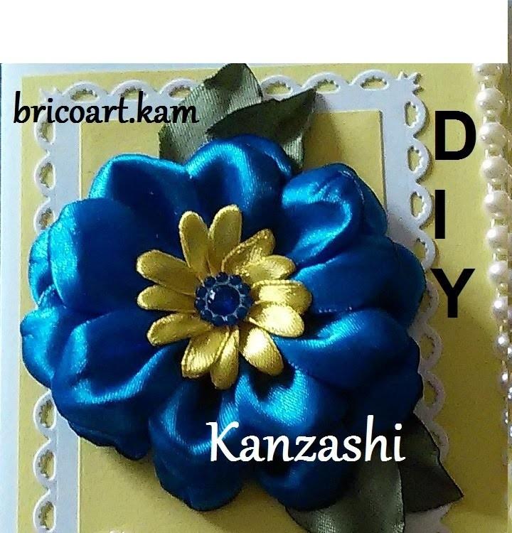 DIY.MK.Tutorial.Kanzashi flower blue