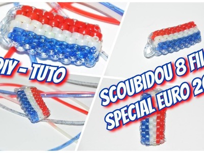 • DIY-Tuto ⎟ Spécial Euro 2016 ⎟ Faire un scoubidou rectangle 8 Fils aux couleurs de la France •