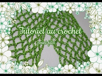 Point filet ou résille au crochet, tutoriel facile.Point semplice tutorial filet crochet