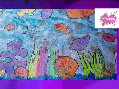 DIY.Comment peindre un fond marin. Activité  enfants.Like painting a seabed. Activity for children.
