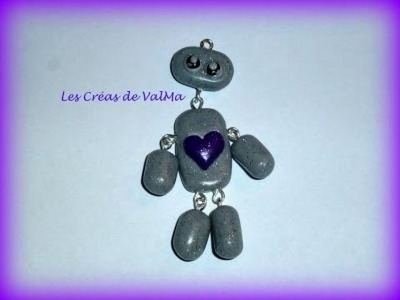 Tuto Fimo Pantin Gris Coeur violet.Polymer Clay Tutorial