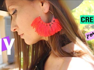 DIY┋BOUCLES D'OREILLES POMPONS #summerchallenge - DIY FRANCAIS tassel fringe hoop earrings