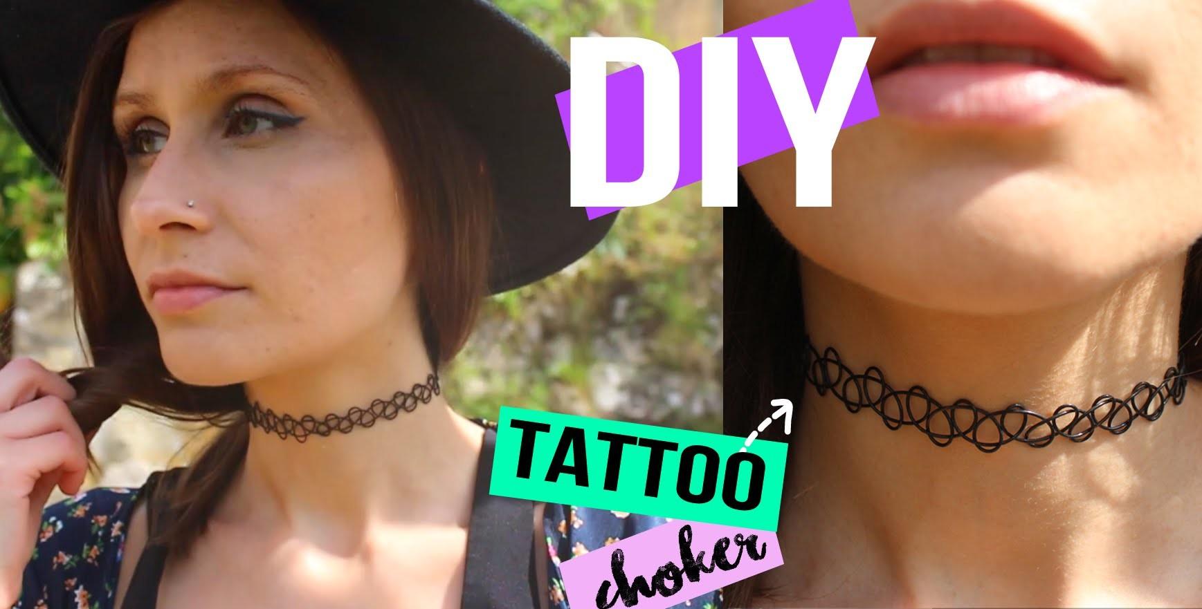 DIY┋COLLIER FAUX TATOUAGE - RAS DE COU tattoo choker DIY Français