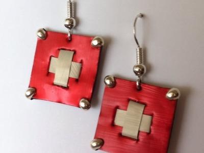 DIY Nespresso: Comment-faire des boucles d'oreilles drapeau Suisse