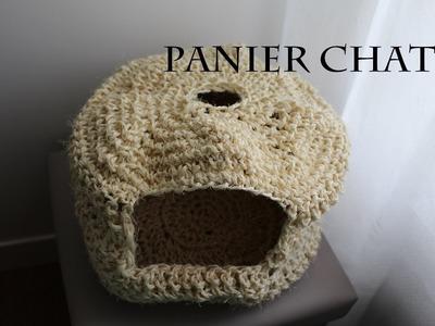 Panier - maison ou niche de chat tricoté , explications