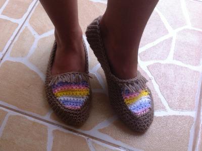 Crochet Mocassins au crochet toutes tailles faciles. Pantuflas tejidas a crochet faciles