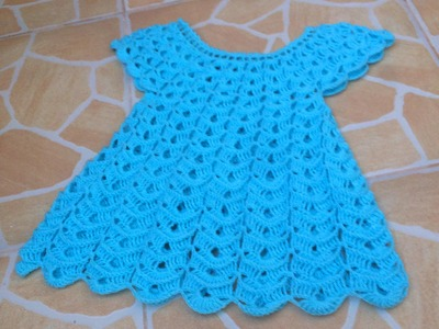 Crochet robe en relief magnifique 2. Vestido en relieve tejido a crochet 2