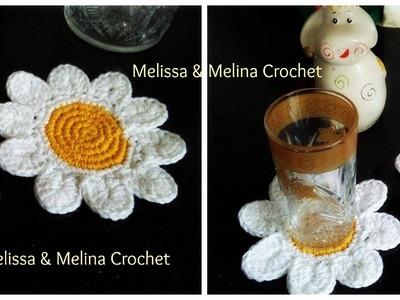 Dessous de verre marguerite fleur au crochet. Daisy flower coasters crochet