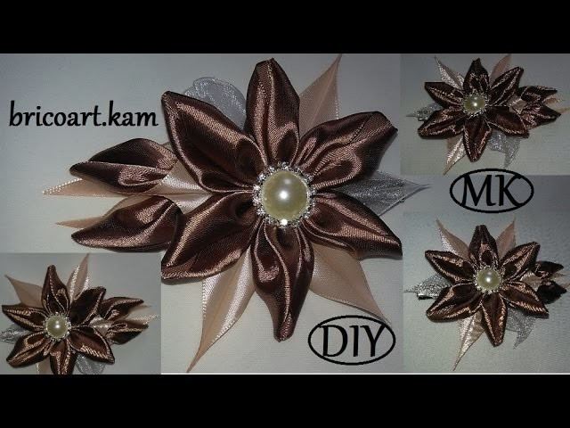 DIY.How to.Hair clip.Kanzashi flower.Flor de cinta.MK зажим для волос.канзаши: bricoart.kam