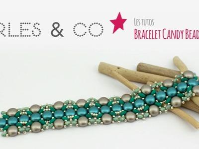 DIY Tuto Schéma Création Bijou Perles : Faire un Bracelet Tissé en Perles Candy Beads - Perles&Co