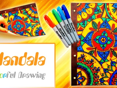 Speed Drawing.Coloring - DIY Couverture Cahier Mandala n°5 !