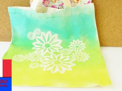 DIY Bricoler un sac avec de la couleur en spray pour l'été | Super motifs de fleurs | Super simple