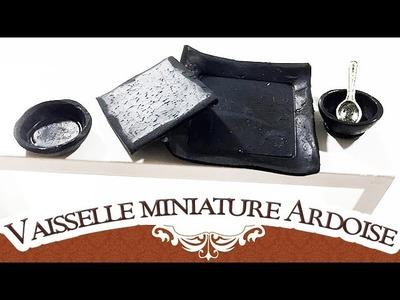 Tuto FIMO miniature : vaisselles imitation ardoise - Polymer Clay Tutorial