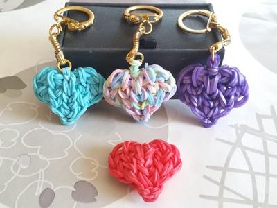 Rainbow Loom Tuto -  Coeur en porte clef.  heart ( By Raya )