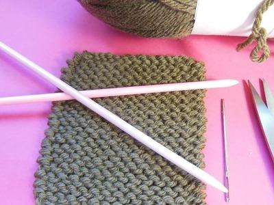 Tricot point mousse (maille endroit) et arrêt des mailles | Knitting tutorial | Tejido