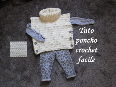 TUTO PONCHO AU CROCHET POINT ETOILE TOUTES TAILLES all sizes poncho knitted crochet