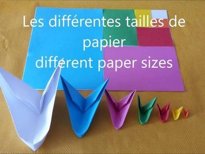 Different paper sizes. les différentes tailles de papier origami 3d