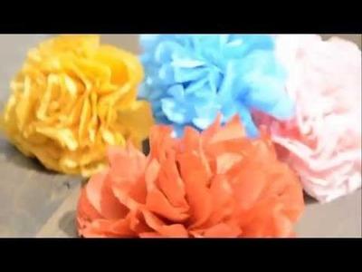 DIY - Comment faire une fleur avec papier de soie - How to make a flower with paper