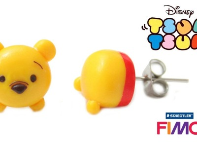 TSUM TSUM DISNEY Winnie FIMO Boucles d'oreilles puces. Pooh Polymer clay