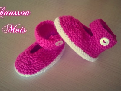 "Tuto Tricot ""Chaussons bébé (N°4) 3 Mois"""