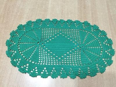 Tuto napperon ovale au crochet  spécial gaucher 2.2