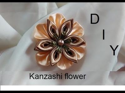 DIY.MK.Kanzashi flower.Pince à cheveux.Hair clip.Pinza de pelo