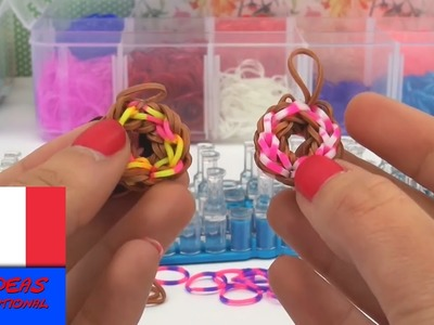 Porte-clés loom en forme de Donut. facile et pratique. avec élastiques