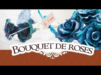 Tutoriel FIMO: Bouquet de Roses bleu avec Pearlex. bunch of roses polymerclay