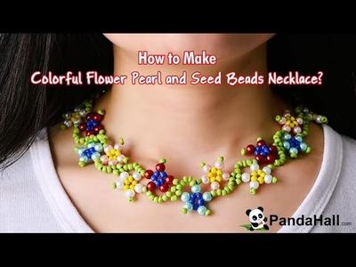 Vidéo 25 (photo) Comment faire un collier avec perles en verre nacré colorées et perles de rocaille