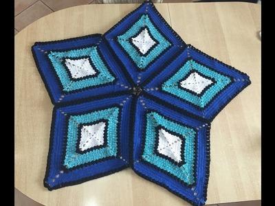 Tuto nappe, tapis losange au crochet