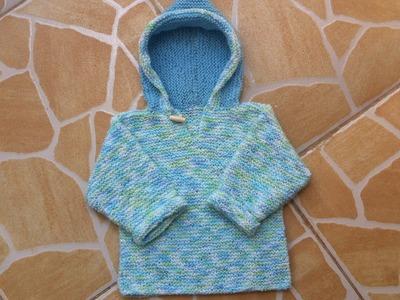 Tuto tricot :Pull a capuche bébé au tricot facile