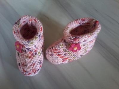 Tuto tricot layette : chaussons au point mousse expliqué pendant le diaporama