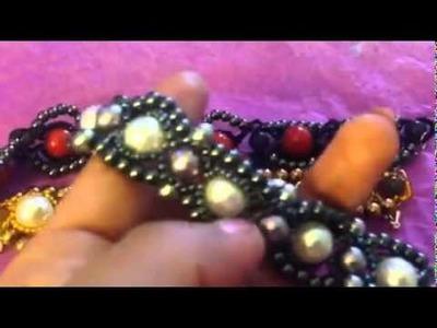 Bracelet vintage en perles semi précieuses