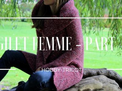 TUTO TRICOT DÉBUTANT (DIY) - GILET FEMME PARTIE 4.4 - LE COL ET LES COUTURES